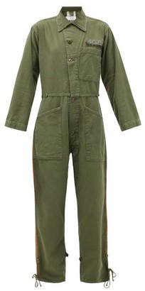 Myar - Piped-trim Upcycled-cotton Jumpsuit - Khaki