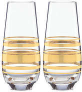 Kate Spade Set of 2 Hampton Street Champagne Flutes - Clear/Gold