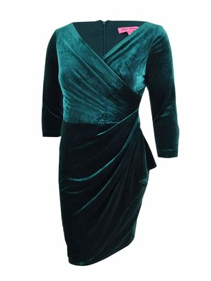 Betsey Johnson Women's Plus Size Velvet Faux Wrap Dress