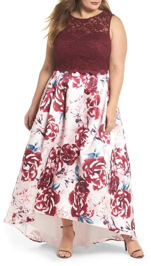 Morgan & Co. Lace Top & Mikado Skirt Two-Piece Gown