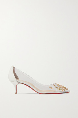Christian Louboutin Collaclou 55 Spiked Pvc And Patent-leather Pumps - White