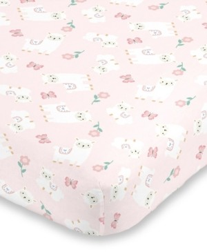 NoJo Infant Girl's Sweet Llama and Butterflies Super Soft Fitted Crib Sheet Bedding