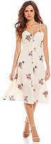 Gianni Bini Sloan Embroidered Button Front Slip Floral Dress