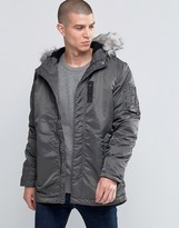 Selected Parka Jacket with Faux Fur Hood