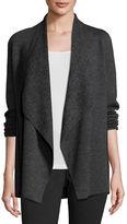 Eileen Fisher Fine Merino Birdseye Angle-Front Jacket, Charcoal, Plus Size