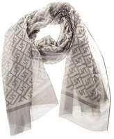 Fendi Silk Blend Wool Branded Scraf