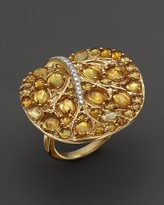 Michael Aram 18K Yellow Gold Large Botanical Leave Ring with Pavé Yellow Sapphires and Diamonds