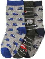 Joe Fresh Toddler Boys' 3 Pack Car Print Socks, Grey (Size 1-3)