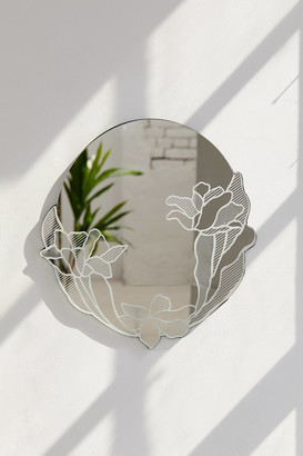 Urban Outfitters Poppy Floral Round Wall Mirror