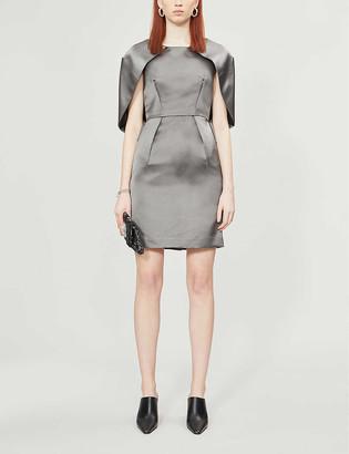 Pre-loved Prada batwing-overlay silk midi dress