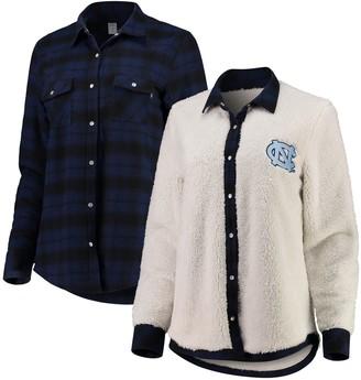 Unbranded Women's Navy/Cream North Carolina Tar Heels Reversible Sherpa Flannel Long Sleeve Button-Up Shirt