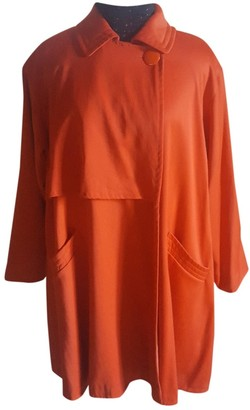 Genny Oversize Orange Wool Coat for Women Vintage