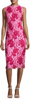 Monique Lhuillier Sleeveless Two-Tone Lace Cocktail Dress, Magenta/Rose Pink
