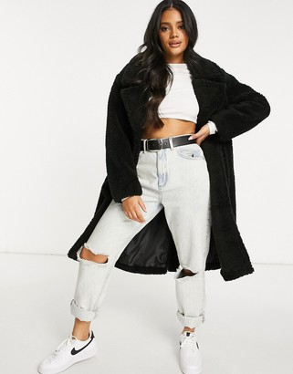 NA-KD double breasted long teddy coat in black