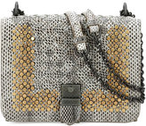 Bottega Veneta Small Flap Studded Snakeskin Crossbody Bag, Fume/Gold
