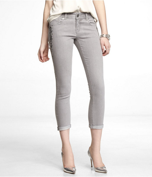 Express Stella Embellished Cropped Rolled Jean Legging