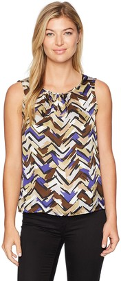 Nine West Women's Charmeuse Abstract Pleat Neck Blouse