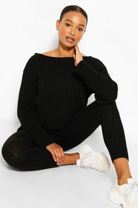 boohoo Tall Knit Slash Neck & Legging Lounge Set