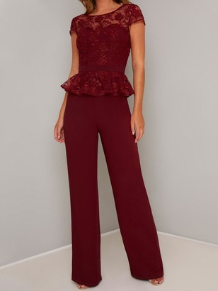 Chi Chi London Nuala Jumpsuit - Burgundy