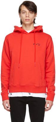 Off-White Red Slim Fit Logo Hoodie