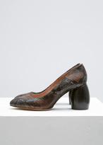 Dries Van Noten brown snakeskin curved heel