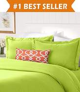 Elegant Comfort #1 Best Bedding Duvet Cover Set! 1500 Thread Count Egyptian Quality Luxurious Silky-Soft WRINKLE FREE 3-Piece Duvet Cover Set, Full/Queen, Lime