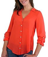 JCPenney by&by Cutout-Shoulder Button-Front Shirt