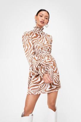 Nasty Gal Womens Go Wild Petite Zebra Mini Dress - Brown - 4