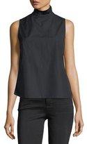 Frame Ruffled-Neck Button-Back Sleeveless Poplin Shirt