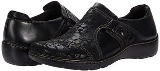 Clarks Cora Poppy (Black Textile/Leather Combination) Women's Shoes