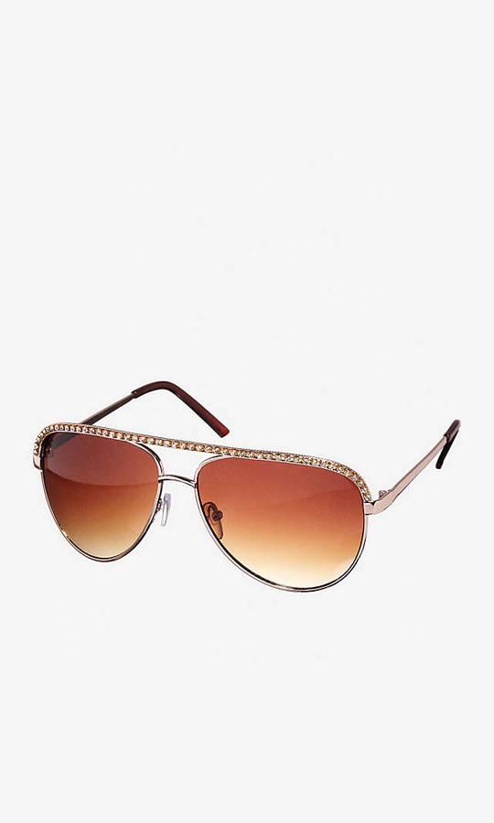 Express Rhinestone Embellished Aviator Sunglasses