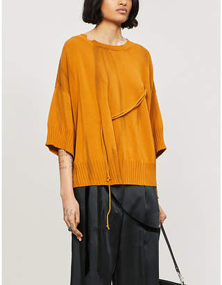 Selfridges String-detailed oversized cotton-knit jumper