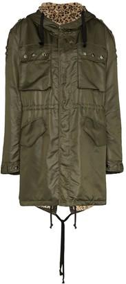 Faith Connexion leopard-lined parka coat
