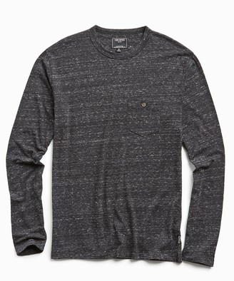 Todd Snyder Long Sleeve Heather Tee in Black