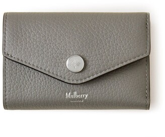 Mulberry Folded Multi-Card Wallet Charcoal Heavy Grain