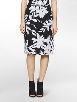 Calvin Klein Graphic Floral Knit Pencil Skirt