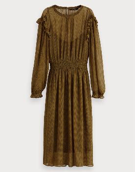 Scotch & Soda All Over Print Dress - XS - Black/Green