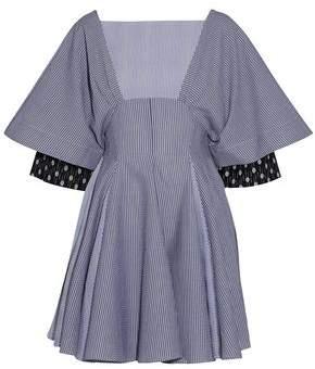 J.W.Anderson Pleated Striped Cotton-Seersucker Mini Dress