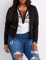Charlotte Russe Plus Size Zipper-Trim Collarless Blazer