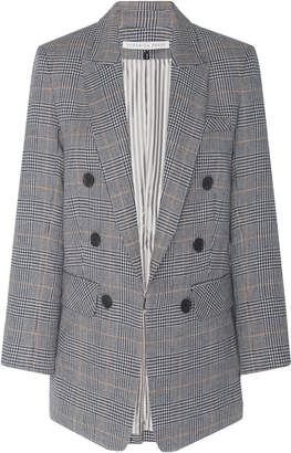 Veronica Beard Bexley Double-Breasted Plaid Linen-Blend Jacket