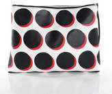 Saks Fifth Avenue White Black Red Polka Dot Zippered Clutch Handbag