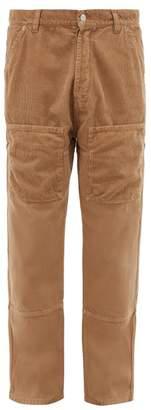 Jacquemus Corduroy-panelled Straight-leg Jeans - Mens - Beige