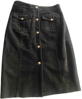 Rika Black Suede Skirt for Women