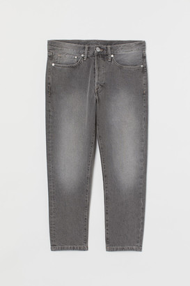 H&M Slim Straight Cropped Jeans - Gray