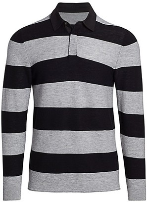 7 For All Mankind Striped Wool Rugby Polo
