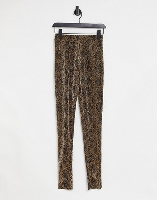 Object leggings in metallic snake print