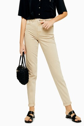 Topshop Womens Sand Mom Tapered Jeans - Sand