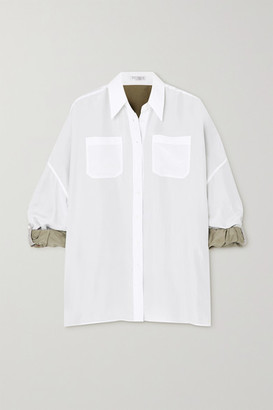 Brunello Cucinelli Reversible Silk-voile Shirt - White