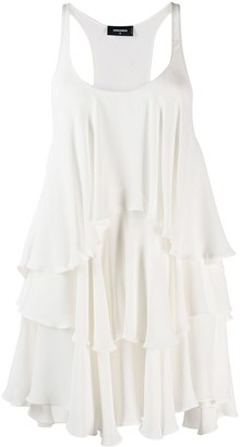 DSQUARED2 Silk Asymmetric Pleat Dress