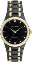 Elgin Mens Black and Gold-Tone Watch